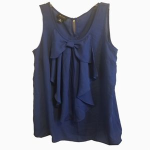 AB studio blue sleeveless bow top medium Bow acce